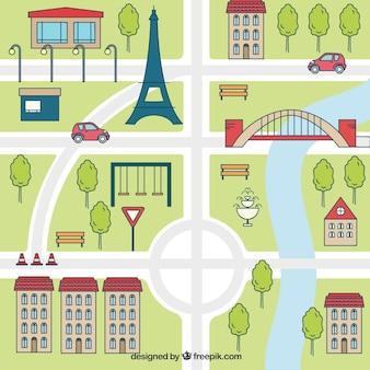 Mapa de parís en diseño plano