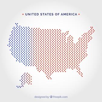 Mapa de puntos de los estados unidos de américa