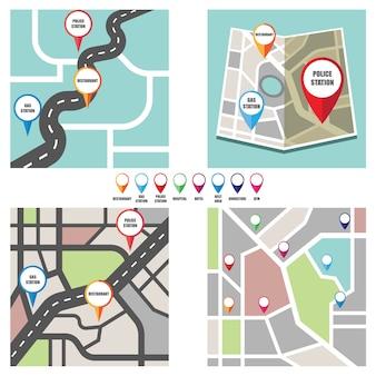 Mapa de ruta con el puntero de pin colorido a área pública importante