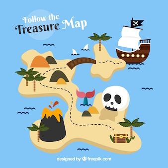 Mapa de tesoro pirata con calavera y barco