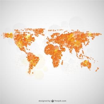 Mapa del mundo con diseño de burbujas