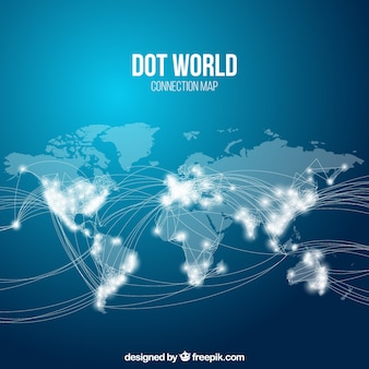 Mapa del mundo conectado con puntos