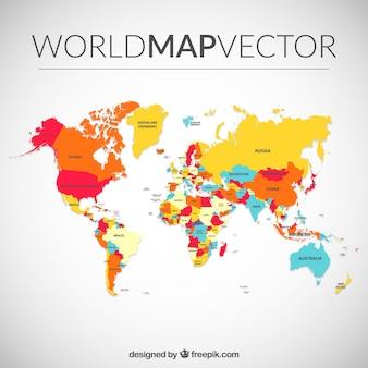 Mapa del mundo de colores