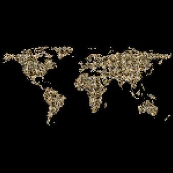 Mapa del mundo hecho de pequeños puntos dorados