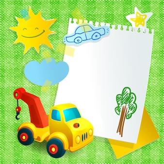 Máquina de construcción de juguete plantilla de postal de papel
