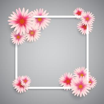 Marco blanco con flores rosas