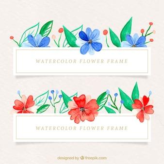 Marco colorido con flores en acuarela
