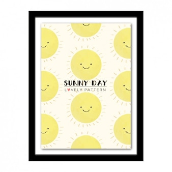 Marco con diseño de sol feliz a color