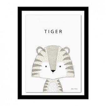 Marco con diseño de tigre