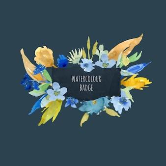 Marco con flores en acuarela