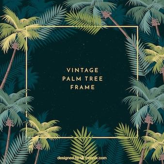 Marco con hojas de palmeras vintage