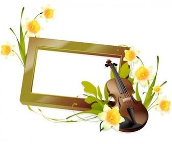 Marco con violín y flores - fondo de vector precioso