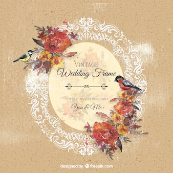 Marco de boda ornamental con flores y pájaros