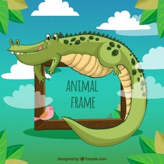 Marco de divertido cocodrilo