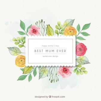 Marco de flores de la mejor mamá del mundo