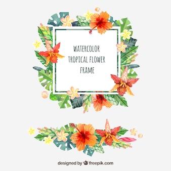 Marco de flores tropicales de acuarela con ornamento