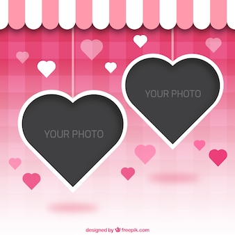 Marco de fotos de formas de corazones