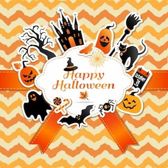 Marco de halloween con las etiquetas engomadas divertidos de símbolos celebración