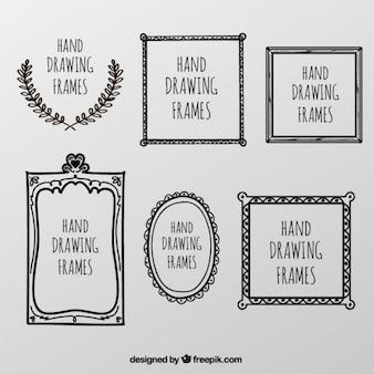 marco de la colección de dibujado a mano