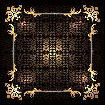 Marco de lujo dorado sobre un fondo con ornamentos
