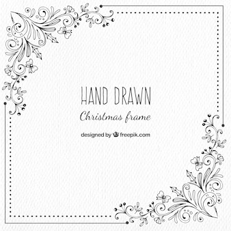 Marco de navidad con detalles florales dibujados a mano
