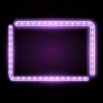 Marco de neón con luces brillantes y rayos estrellares