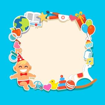 Marco de niños de dibujos animados