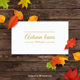 Marco de otoño con las hojas