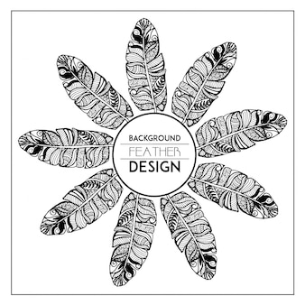 Marco de plumas florales dibujado a mano