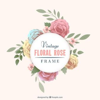 Marco de rosas en estilo retro