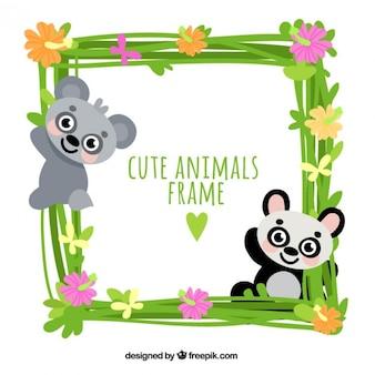 Marco de simpático panda y koala