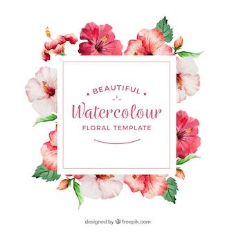 Marco decorativo con flores de acuarela