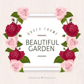 Marco decorativo con rosas realistas