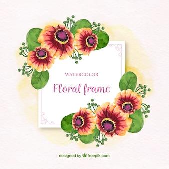 Marco floral artístico con estilo de acuarela