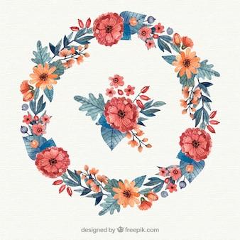 Marco floral circular con estilo elegante