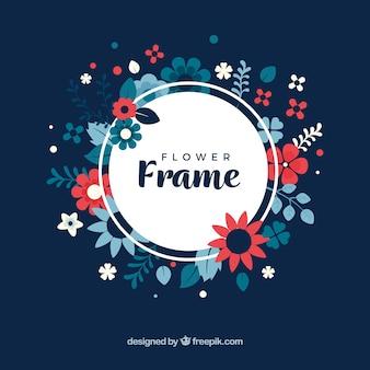 Marco floral con fondo oscuro