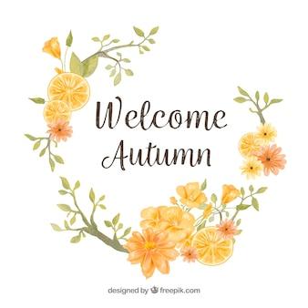 Marco floral de otoño en acuarela