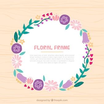 Marco floral dibujado a mano con detalles de flores