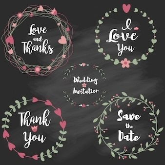 Marco floral dibujado mano para temas de boda