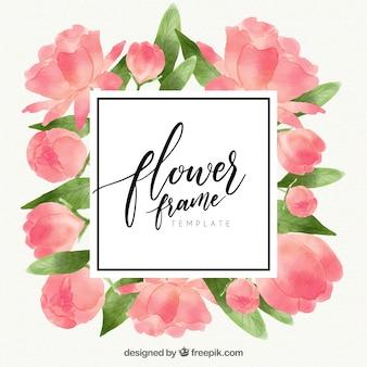 Marco floral elegante en acuarela con rosas