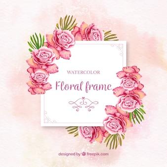 Marco floral en acuarela con rosas coloridas