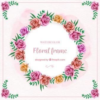 Marco floral en acuarela con rosas multicolores