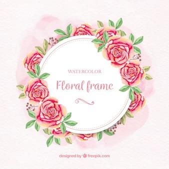 Marco floral en acuarela con rosas y hojas