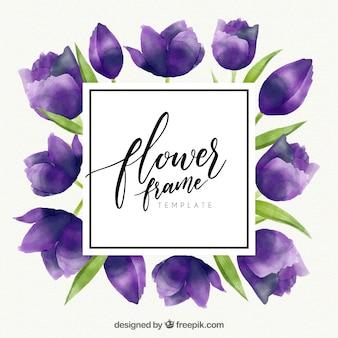 Marco floral en acuarela con tulipanes