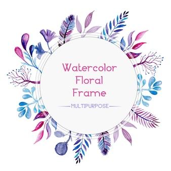 Marco floral en acuarela rosa y azul