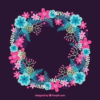Marco floral moderno con diseño circular