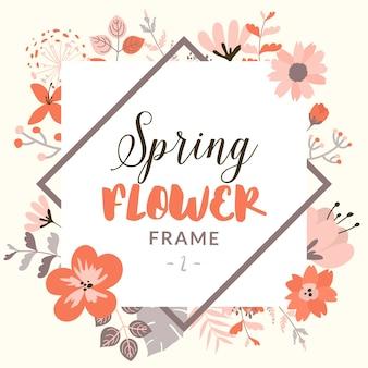 Marco rectangular con flores decorativas de primavera