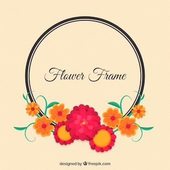 Marco redondo con detalles florales