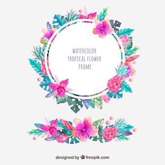 Marco redondo de flores tropicales de acuarela y ornamento