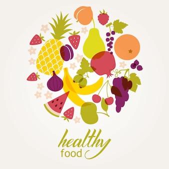 Marco redondo de frutas jugosas frescas. Dieta saludable, vegetarianismo y veganismo.